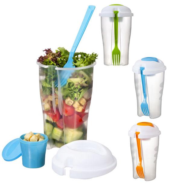 Set de ensalada. Almacenamiento cómodo para disfrutar de las ensaladas en cualquier lugar. Incluye un tenedor y un recipiente desmontable, adecuado para ensaladas y aderezos. Plástico PP.