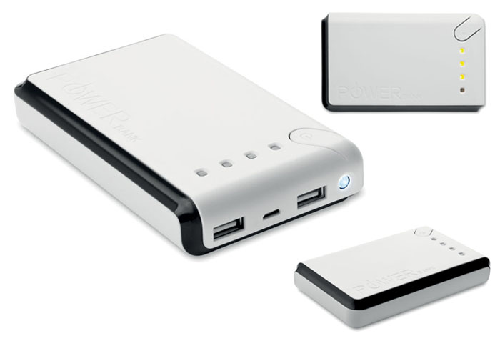 Power bank de 10000mAh con linterna luz LED y cable con conexión de micro adaptador de USB.