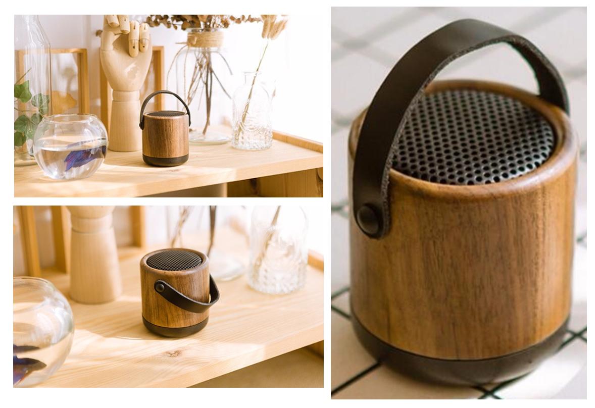 Discreto y elegante altavoz bluetooth portátil fabricado en madera.