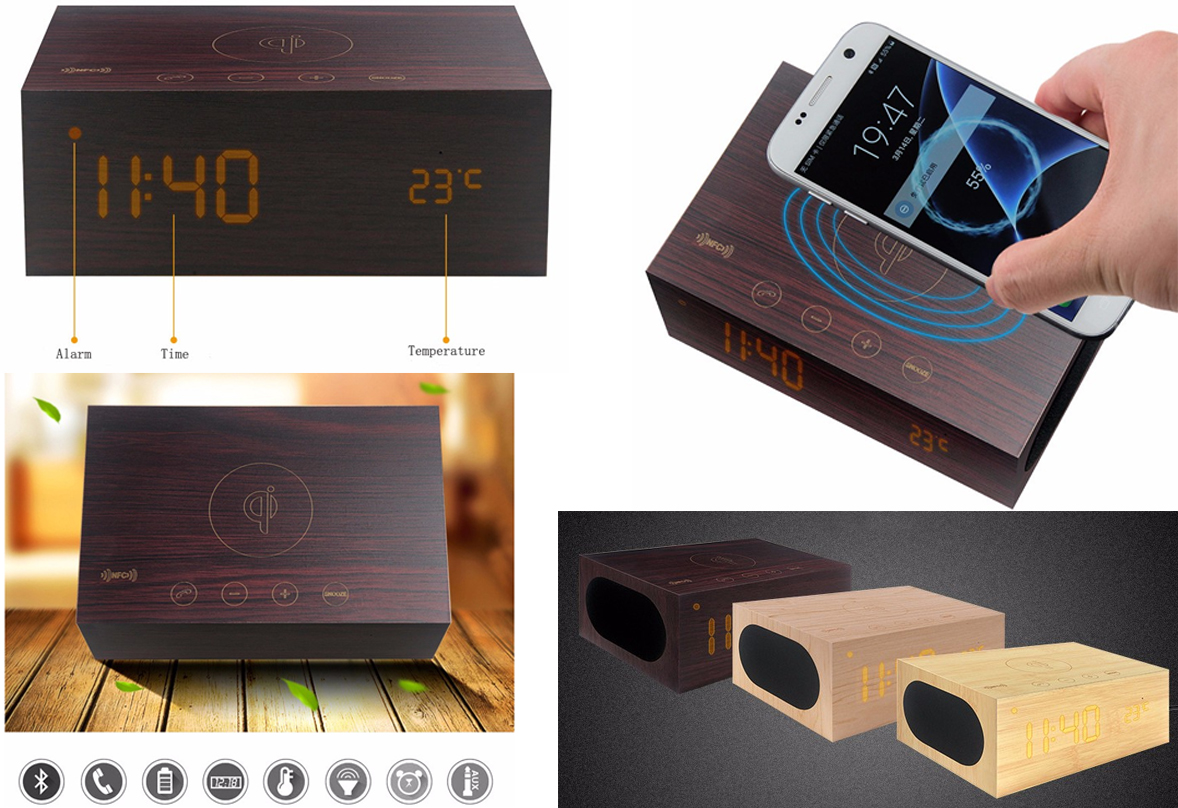 Cargador inalámbrico con altavoz bluetooth y display LED con reloj, alarma y temperatura.