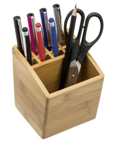 Soporte organizador portabolígrafos fabricado en bambú.