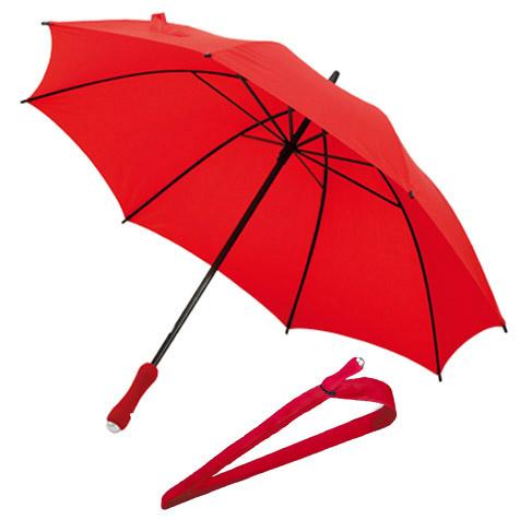 Paraguas con mango ergonómico y funda de transporte. Medida Paraguas transparente con efecto burbuja y ribetes de color plata. Tamaño Ø105 cm.
