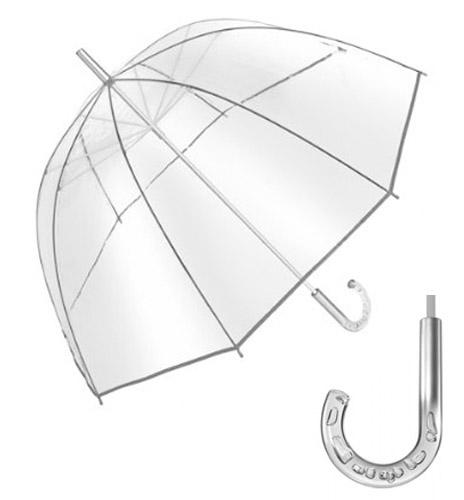 Paraguas transparente con efecto burbuja y ribetes de color plata. Tamaño Ø101 cm.