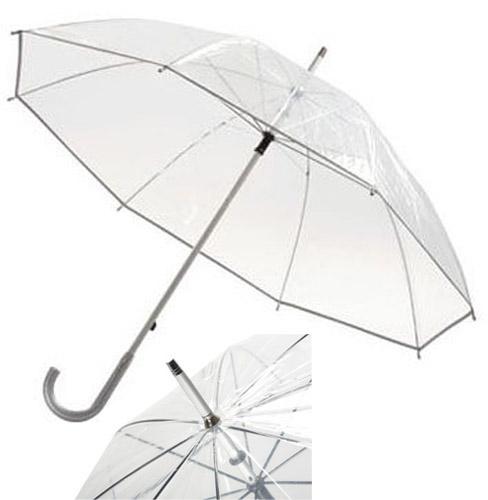 Paraguas transparente panorámico con varillas de metal. Medida: Ø 101 cm.