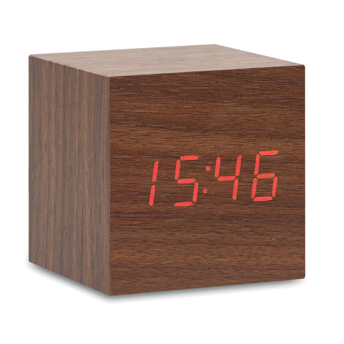 Reloj de sobremesa con alarma, display LED y temperatura.