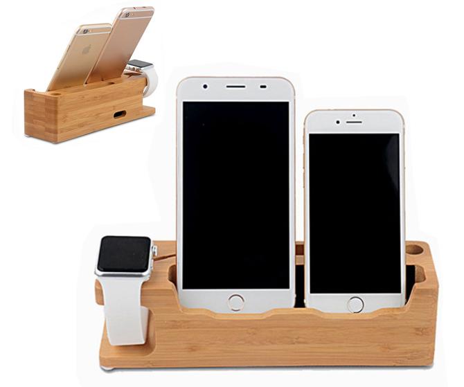 Exclusivo y elegante organizador de escritorio de madera para tablets, móviles y relojes.