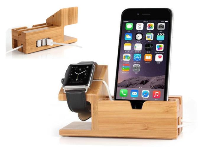 Elegante soporte de móvil y soporte de reloj con puertos USB.